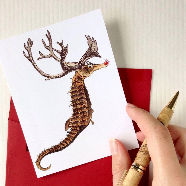 """Don't need a whole set of Chrostmas cards? No problem! I sell single cards in my etsy shop - """"I hope Santa picks me!"""", says lil' seahorse Rudolph"""