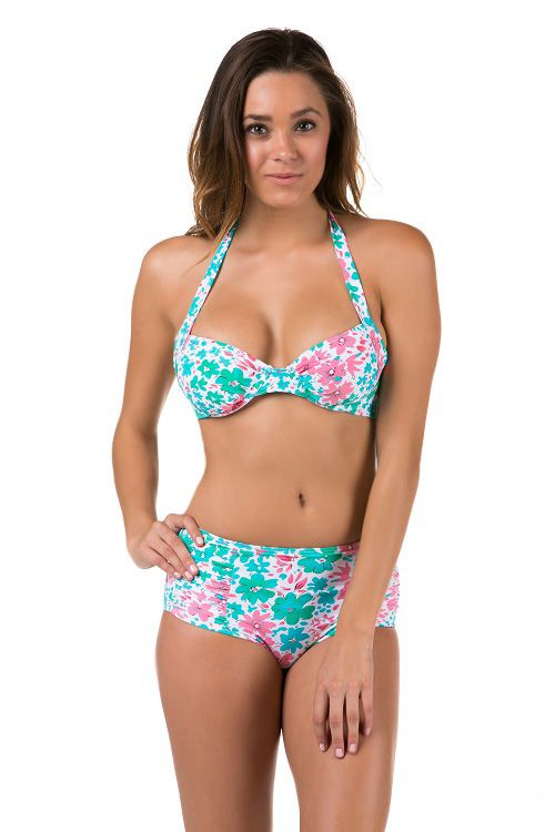 An floral print two piece, push up light padded cups, halter straps, self tie back, high waisted bikini bottom, an all over print. *NOTE: THIS STYLE RUNS SMALL* 82% Nylon, 18% Spandex.