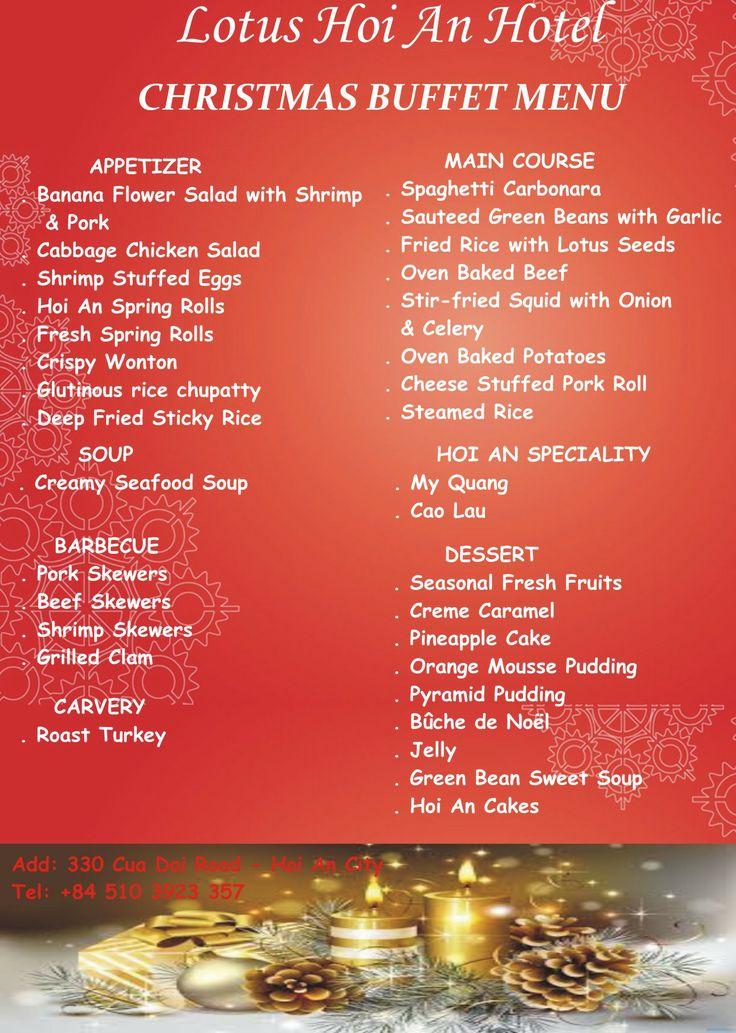 Christmas Buffet Menu - Tuesday, December 24th, 2013 at Lotus Hoi An Hotel
