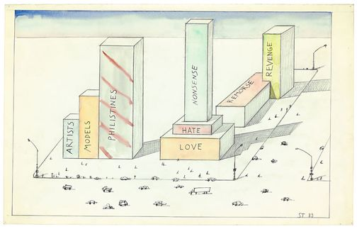 Saul Steinberg Untitled 1983 colored pencil, ink and graphite on paper; 14-1/2 x 23 inches Courtesy PaceWildenstein
