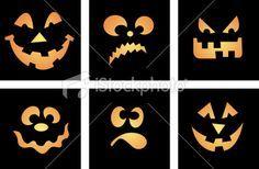 6 vector cartoon faces, Halloween themed, aka Jack O' Lantern