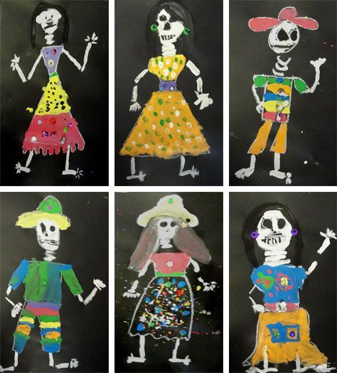 catrina art project second grade chalk on black paper then paint and glitter