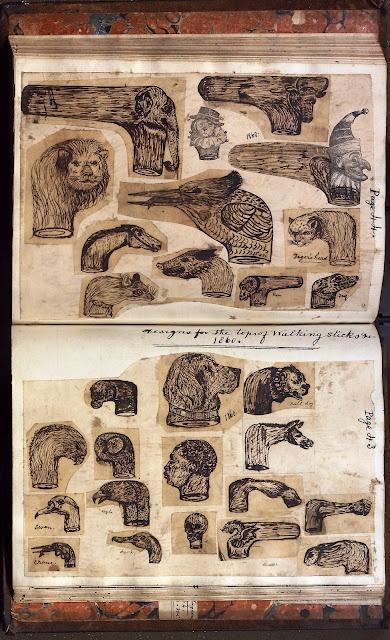 designs for the tops of walking sticks, 1860. Thomas B. Sheldrake