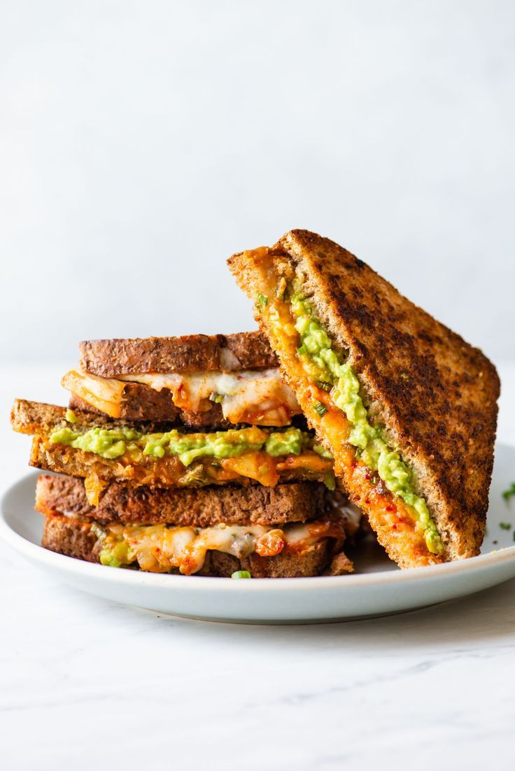 Kimchi And Avocado Grilled Cheese Sandwich Recipe Grilled Cheese Avocado Sandwiches Quick Vegetarian Meals