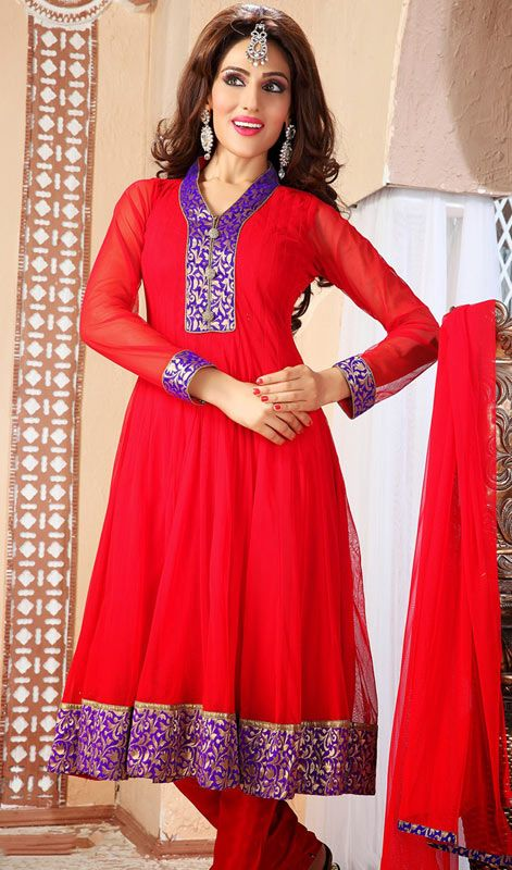 Plus Size Classy Red Chudidar Suit In Net