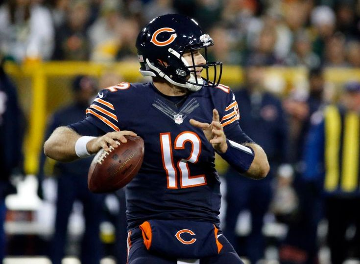 Thursday Night Football: Bears vs. Packers  -  October 20, 2016  -  26-10, Packers  - Chicago Bears quarterback Matt Barkley (12) looks for a receiver during the second half of an NFL football game against the Green Bay Packers, Thursday, Oct. 20, 2016, in Green Bay, Wis.
