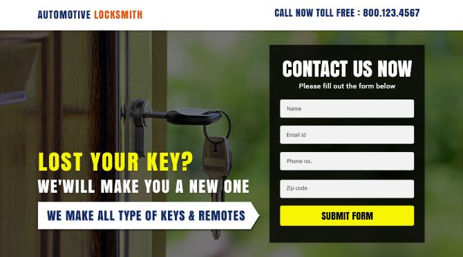 Purchase and download responsive locksmith landing page design to boost and maximize your business conversion rate.