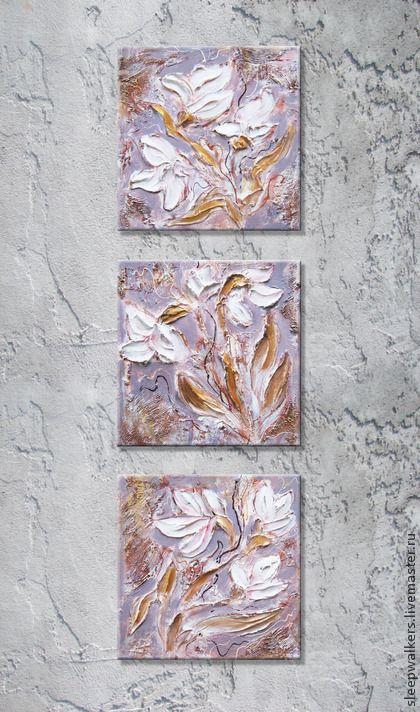 """""""Розовые орхидеи"""" модульные картины акрилом триптих с золотом. Handmade."""