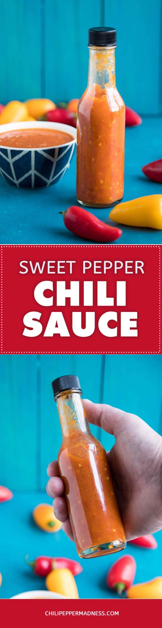 Sweet Pepper Chili Sauce - A recipe for homemade chili sauce made with fermented garden-grown sweet peppers. It's like a mild, richly flavored hot sauce. Dash it over everything!  #recipe #recipeoftheday #recipeideas #recipesharing #chilipeppemadness #spicyfood #spicylife #delish #tasty #foodblogeats #dinner #spicy #recipes #ilovecooking #chilihead #chilipeppers