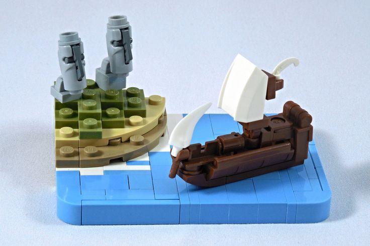 Ces micro versions des Moaïs, les statues de l'Île de Pâques, sont parfaites et veillent sur l'océan en regardant tranquillement passer le navire...