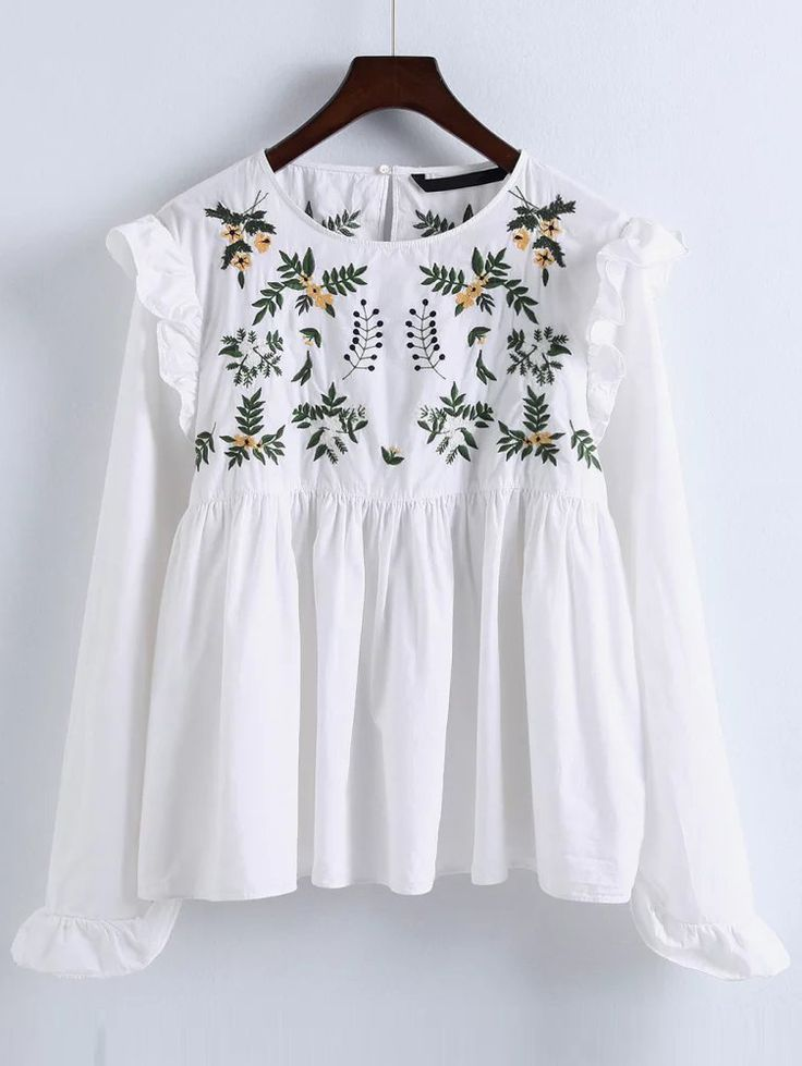 Shop White Embroidery Ruffle Trim Pleated Blouse online. SheIn offers White Embroidery Ruffle Trim Pleated Blouse & more to fit your fashionable needs.