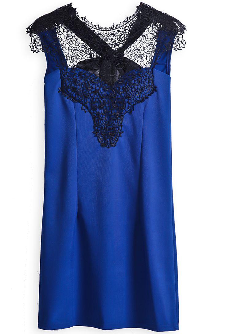 Blue Sleeveless Backless Lace Slim Dress - Sheinside.com