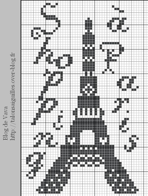 Eiffel Tower - one of the free patterns from this neat cross-stitching site