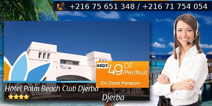 Sweet Promos: Réservez à l'avance pour bénéficier d'une réduction jusqu'à 20% sur votre tarif chambre, réserver Hôtel Palm Beach Club Djerba 4 étoiles à partir de 49 DT/Per/Nuit en Demi Pension au lieu de 65 DT/Per/Nuit.  Réserver en ligne:http://www.sweetunisia.com/hotels-tunisie/hotel-Palm_Beach_Club_Djerba-421.html