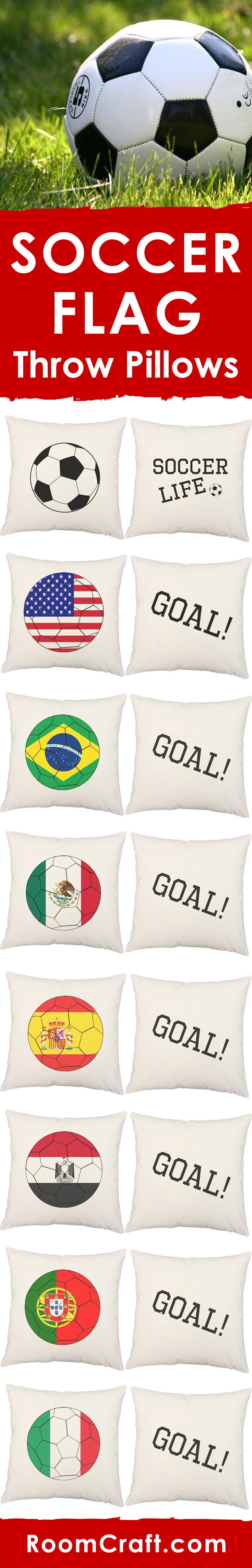 Score a goal with these fun country flag soccer throw pillows. It's the perfect gift for the football fan in your life. All designs are offered in multiple colors, sizes and fabrics making them the perfect addition to any sports room or man cave. Each sports pillow cover set is made to order in the USA and features 3 wooden buttons on the back for closure. Choose your favorite and create a truly unique pillow set! #roomcraft