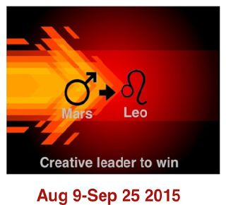 CREATIVE LEADERSHIP TO WIN - Collectively Mars in Leo is motivation to creatively direct our energies to achieve what we set out. CREATIVE LEADER TO WIN!!!! Mars in Leo is also associated with fidelity and sensuality and expects the same of its beloved. Therefore if we have Mars in Leo in our birth chart it is beneficial to share with a partner who is born when Venus was under fire signs (Aries, Leo or Sagittarius).