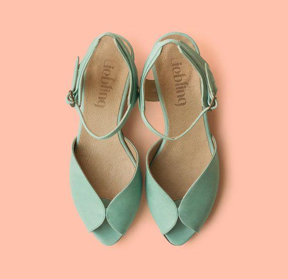 Nouveau Menthe Adelle sandales chaussures en cuir par LieblingShoes