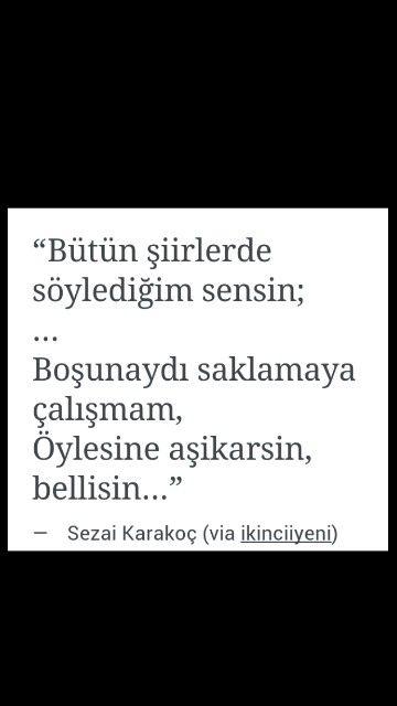 Bütün şiirlerde söylediğim sensin ... Sezai Karakoç
