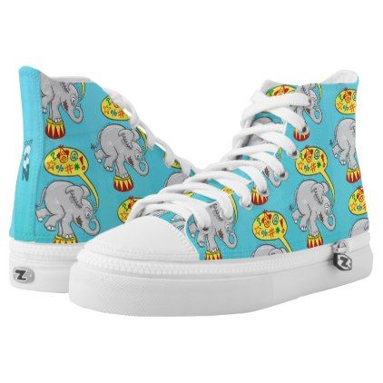 #Angry circus elephant saying bad words High-Top sneakers - #womens #shoes #womensshoes #custom #cool