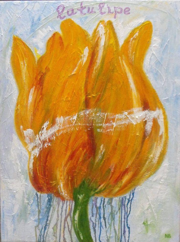 Tulp, schilderij van Nelly Biessen   Abstract   Modern   Kunst