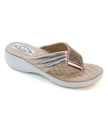 Look what I found on #zulily! Champagne Glitter Layered Sandal #zulilyfinds