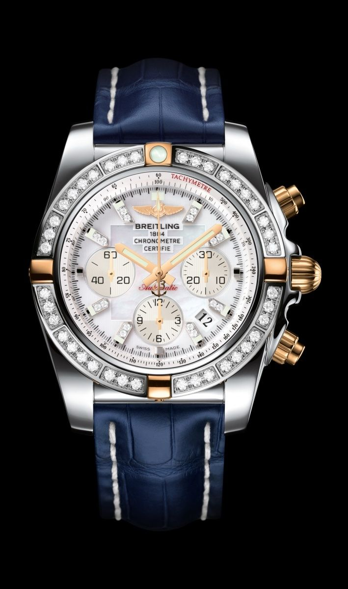Chronomat 44 diamond diver's watch by Breitling - Two-tone steel and 18K rose gold, pearl diamond dial, blue croco strap.