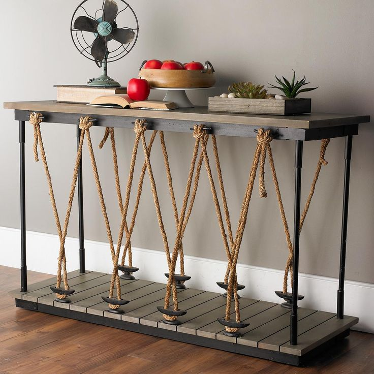 Industrial Rope and Wood Console make for beach?  Paint wood white, use stair case spindles for each corner