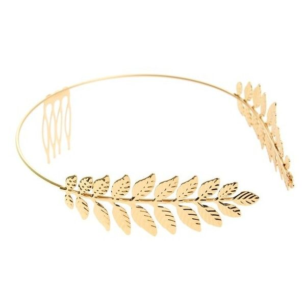 Cara Leaf Headband (£14) ❤ liked on Polyvore featuring accessories, hair accessories, hair, jewelry, hats, gold, woven headbands, hair combs accessories, leaves headband and hair band headband