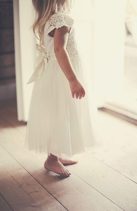 Beautiful crochet flower girl dress @ My barn wedding