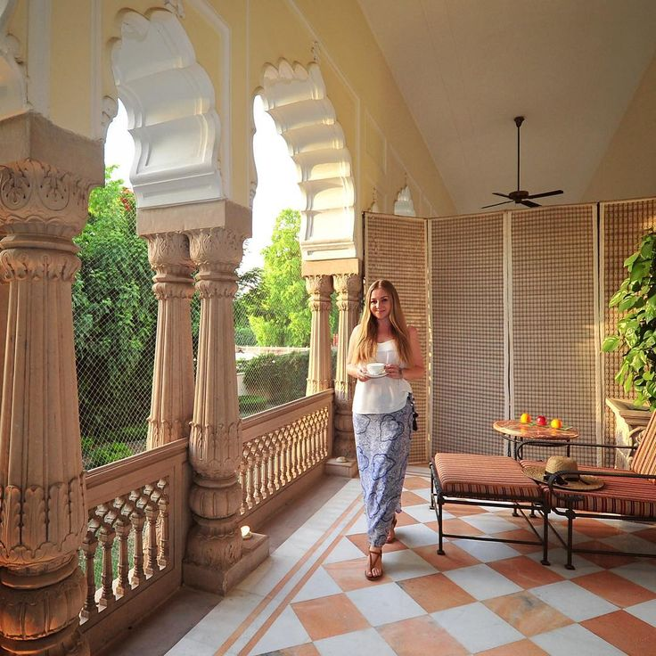 Luiza....In our patio at the Rambagh Palace, Jaipur in Rajasthan (India). Photo © TravelPlusStyle.com