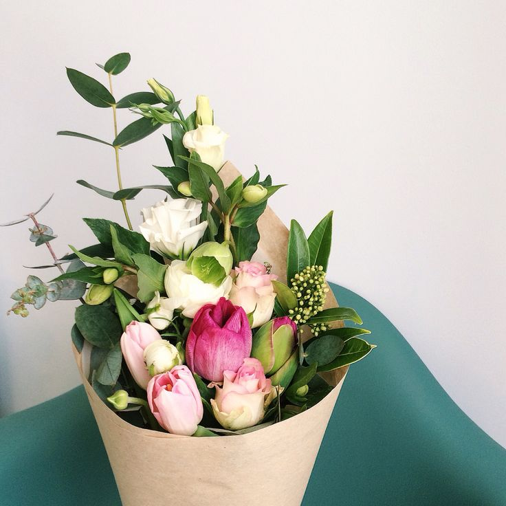 Spring posy: tulips, ranunculus, roses, hellebores