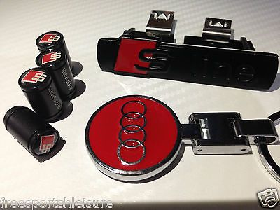 Audi s line black front #grill #badge + red audi #keyring + 4 s line dust caps,  View more on the LINK: 	http://www.zeppy.io/product/gb/2/262483492018/