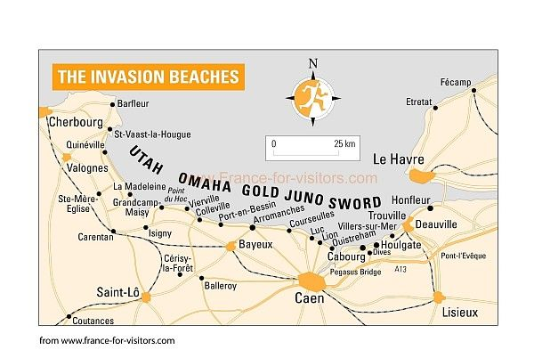 Beaches of Normandy - visit to American cememtery at Omaha, museum of Arromanches, and circular memorial at St. Laurent.