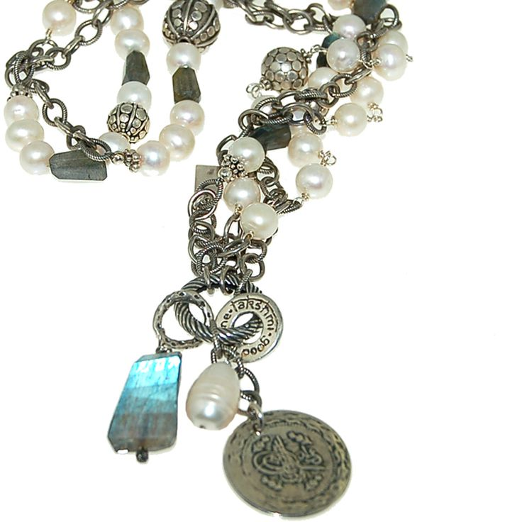 Labradorite and Pearl Necklace with Sonja Picard charm (N1688R) $600