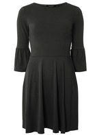 Womens Charcoal Grey Flute Sleeve Skater Dress- Grey