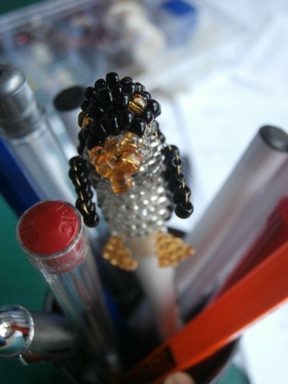 Beaded Penguin Pen-topper by JacksonsBeadwork on Etsy