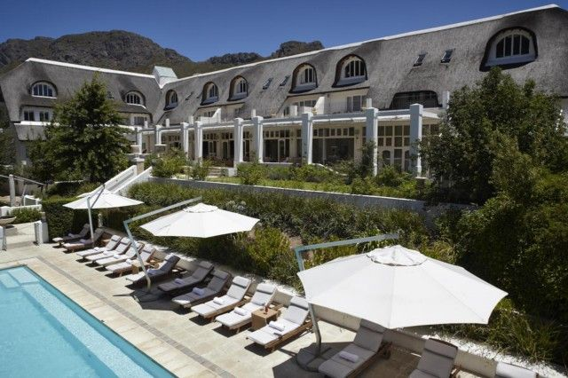 Le Franschhoek Hotel is a 4 star luxury resort hotel located in the beautiful valleys of the Cape Winlands in Franschhoek, Western Cape. It is these spectacular mountain ranges, which are home to the exclusive Le Franschhoek Hotel from which stunning views can be enjoyed over the Cape vineyards.  http://www.south-african-hotels.com/hotels/le-franschhoek-hotel-and-spa/