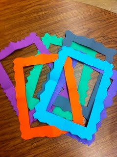 easy to make picture frames-students fold paper into fourths, cut out an L shape, and the then cut the design out along the outer edge