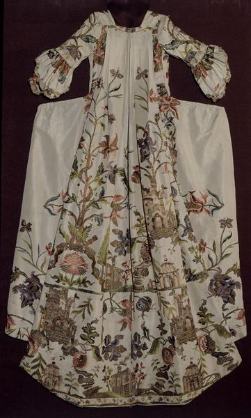 Sack back gown made c. 1735-1740, altered in 1750-1775, England. Embroidered silk. Victoria Et Albert Museum.