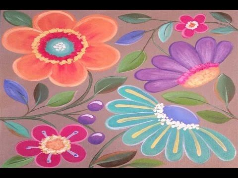 Learn how to paint easy whimsical flowers free acrylic for Learn to paint online