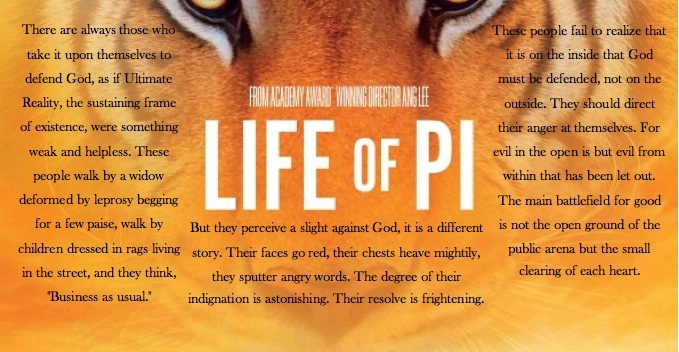 life of pi essays on faith This theme often brings to mind more ethereal subjects like the soul or the soul's rebirth you'd be both right and wrong applying such lofty thoughts to life of pi in this book, spirituality grounds itself in the everyday the most ordinary activities take on a level of spiritual intensity.