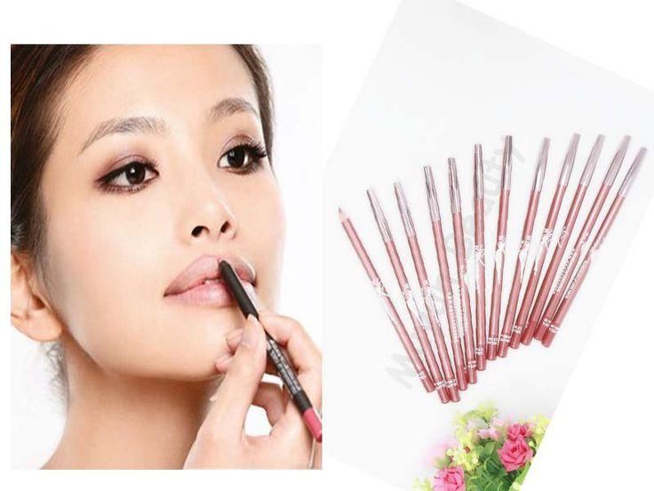 12 pçs/lote marca New mulheres Lipliner Professional impermeável batom delineador de lábios lápis de longa duração macio Balm Pen frete grátis alishoppbrasil