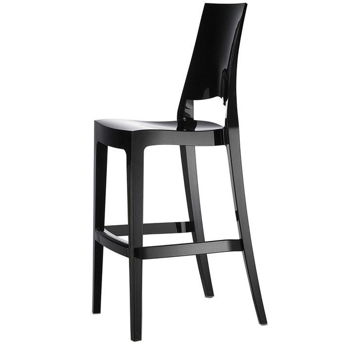 Glenda stackable plastic barstool with high backrest