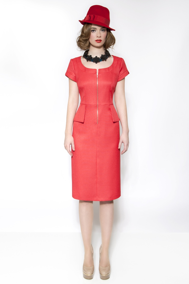 Helen Dress in Tomato Red by Caroline Kilkenny . Sizes 10 to 16 . Classic peplum shape with front zip & short sleeve . Beautifully  finished with top stitching on neckline & sleeve . €215.00