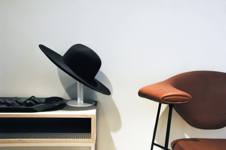 #black #hat - #leather #chair