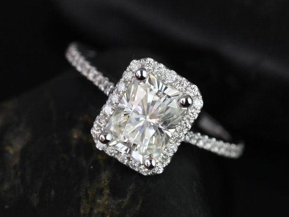 Brianna 14kt White Gold Radiant FB Moissanite and Diamonds Halo Engagement Ring (Other Center Stone Available Upon Request)