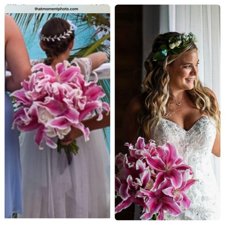 CBR431 wedding Riviera Maya pink and white bride bouquet/ ramo novia blanco y Rosa