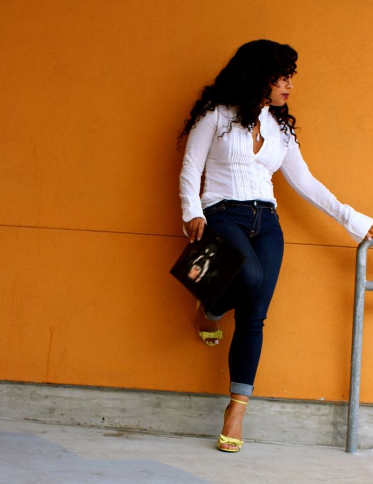 Depend on you - Banana Republic White Button Down Shirt, 7 for all Mankind Denim, Gucci Heels, Givenchy Clutch