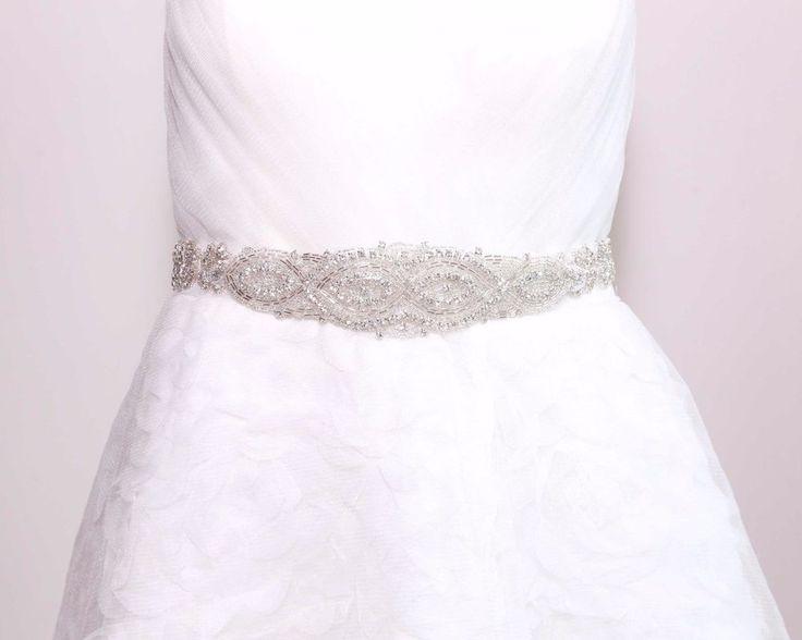 Bridal Rhinestone Crystals White/Ivory/Black Satin Sash Wedding Applique Belt #Unbranded #WeddingPartyChristmasPartyPromAnyParty