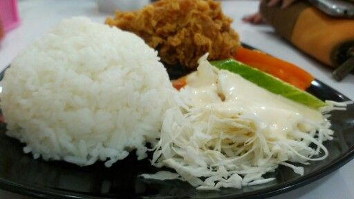 Once upon a time #lunch #rice #friedchicken #salad